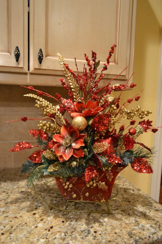 Elegant Red And Gold Sleigh Arrangement by kristenscreations
