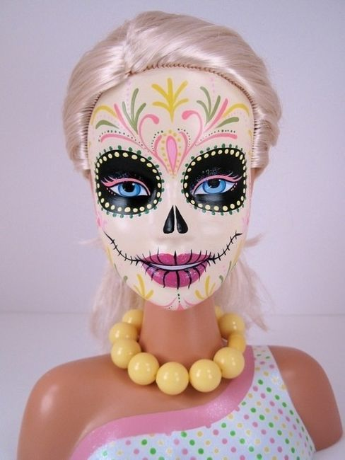Thrift store Barbies paint up to make cool Day of the Dead skeletons