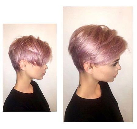 Rose Gold And Blonde Pixie Hair