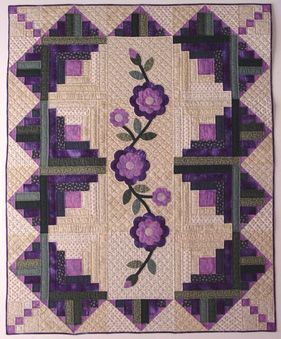 Purple Hearts log cabin quilt. i love how the colo…