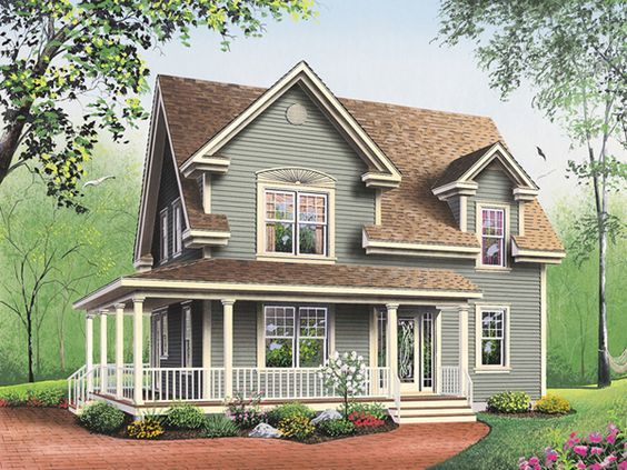 small farmhouse plans with porches   Amberly Bay Farmhouse Plan 032D-0017   House Plans and More
