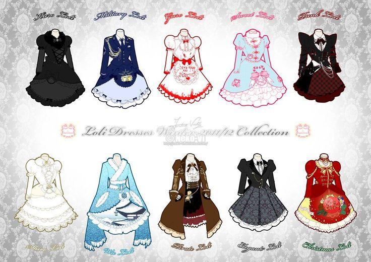 Lolita dress designs... surprisingly I really like the military design!!