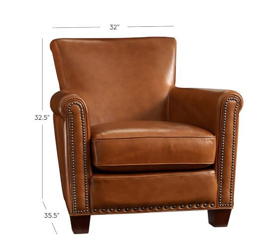Irving Leather Armchair with Nailheads | Pottery Barn