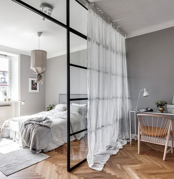 glass room divider for an open bedroom | #scandi #home