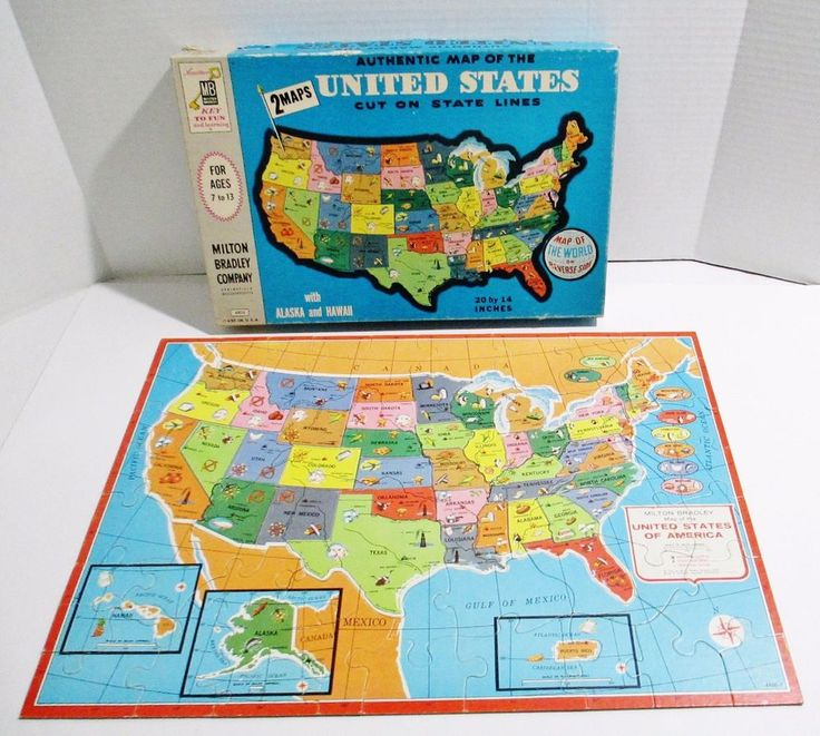 Vintage 1961 Milton Bradley Puzzle Map of United States and World Puzzle on Back #MiltonBradley..... Visit all of our online locations..... www.stores.eBay.com/variety-on-a-budget ..... www.amazon.com/shops/Variety-on-a-Budget ..... www.etsy.com/shop/VarietyonaBudget ..... www.bonanza.com/booths/VarietyonaBudget ..... www.facebook.com/VarietyonaBudgetOnlineShopping