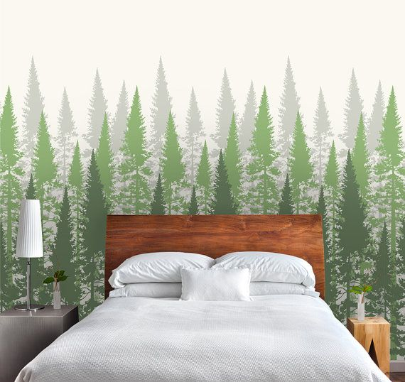 Forest Tree Wallpaper, Fir Tree Peel and Stick Wallpaper, Repositionable, Green and Gray W1042