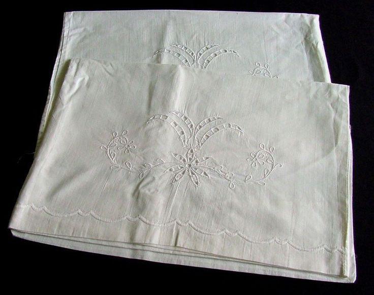 Pair of Antique Edwardian Cut Work Pillowcases c,1910