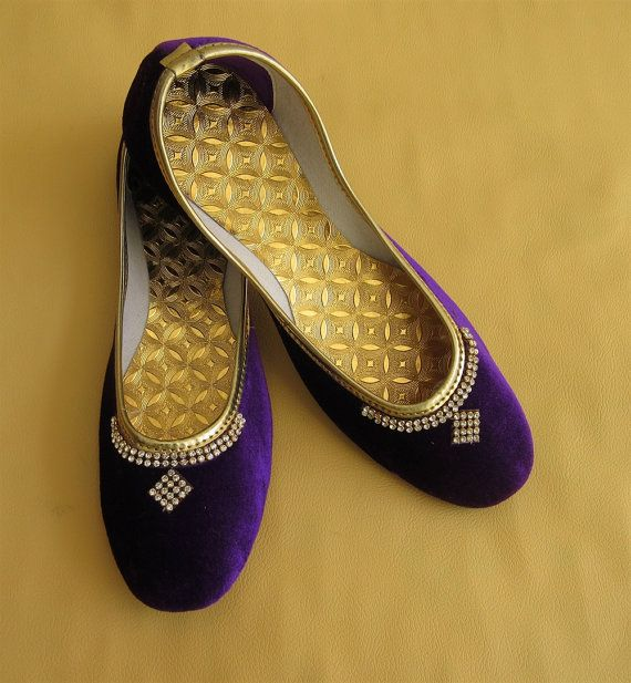Purple Color Women Flat Shoes Rhinestone Studded by BeautyShop21