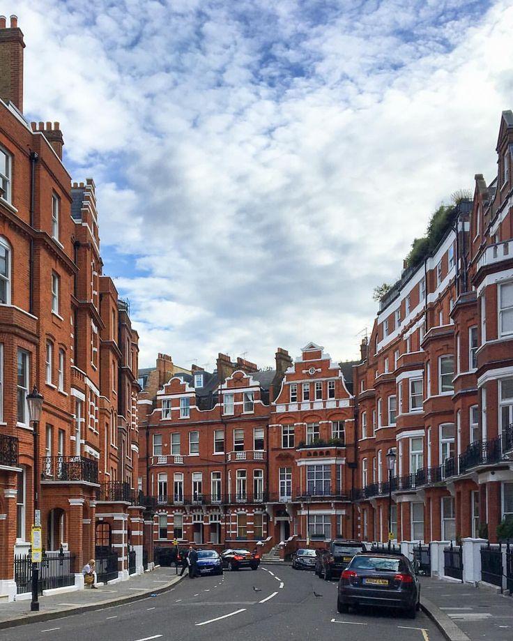 Houses with orange bricks in Knightsbridge, London