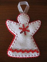 Red and White Angel Ornament (kateym71) Tags: christmas decorations red green gold handmade felt ornaments stitched rickrack