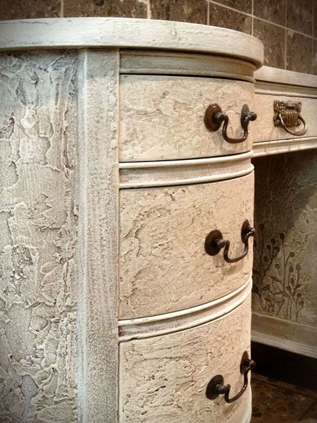 """""""Ladies Desk"""" with Wood Icing™ Chalk Paint® made to look all textured with a crusty look"""