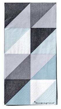 Servietter, square mønster, farge blå 10x20 cm