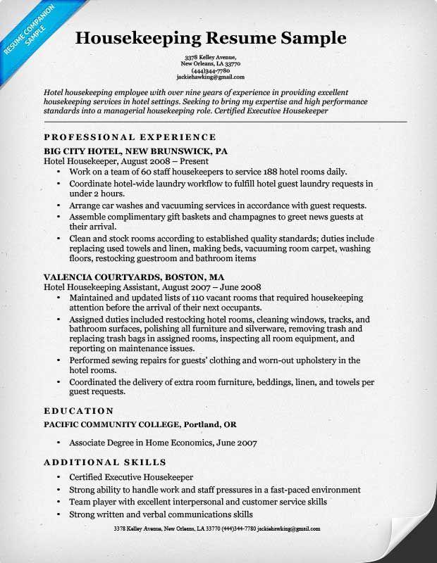 sample of housekeeping resume