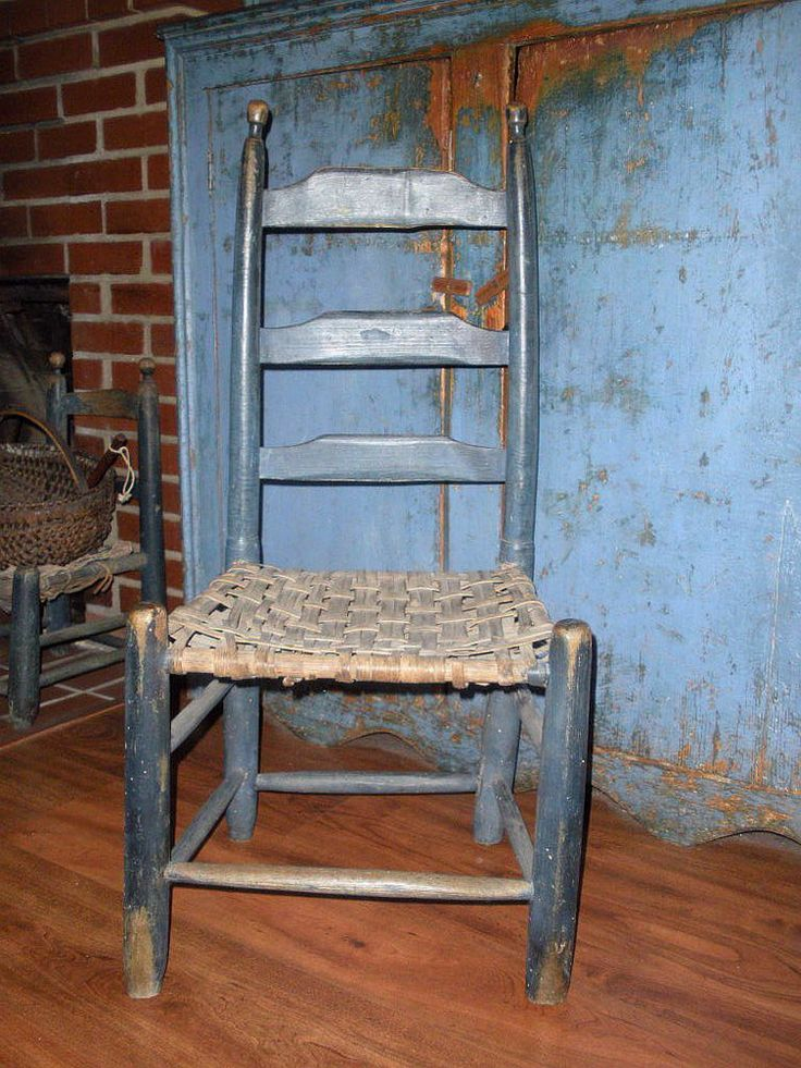 AAFA Early Connecticut Slat-Back Youth Chair Original Blue Paint - 75 Best Wee Chairs For Children Images On Pinterest Antique