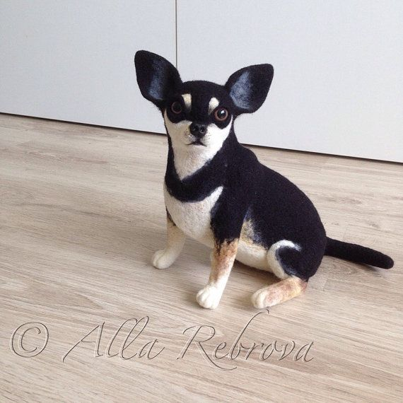 Needle felted 100% wool doll Chihuahua dog / Portrait by coalla