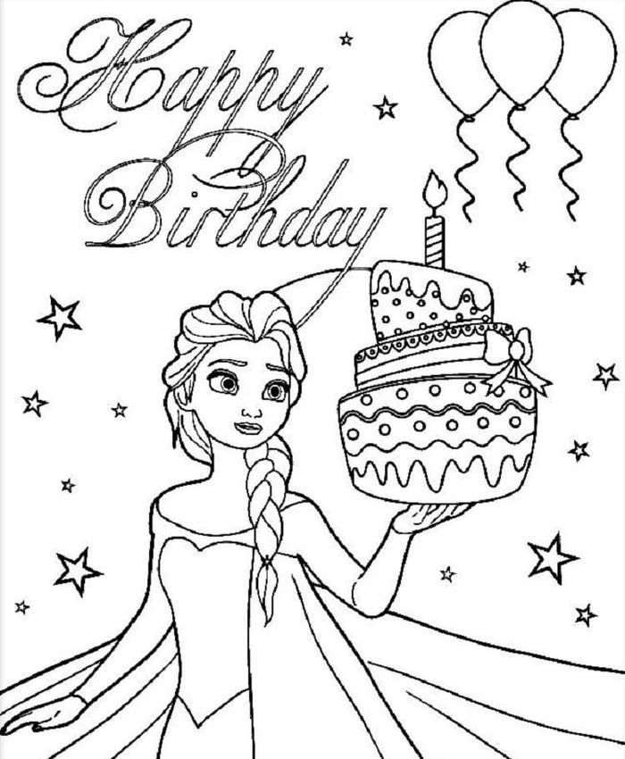 Elsa And Birthday Cake Coloring Pages Happy Birthday Coloring Pages Elsa Coloring Pages Birthday Coloring Pages
