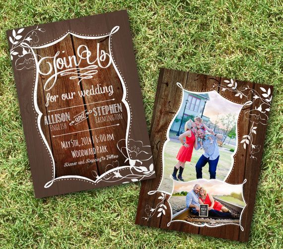 Printing Included Rustic Wedding Invitation by ForKeepsDesigns