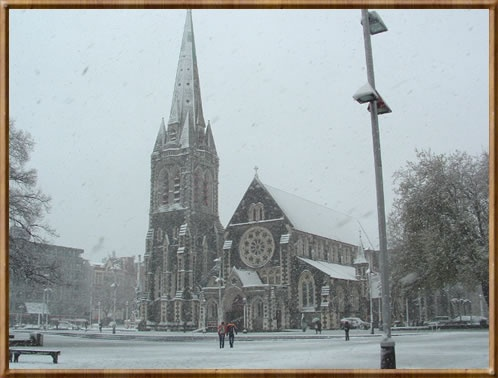 Christchurch Cathedral in the snow