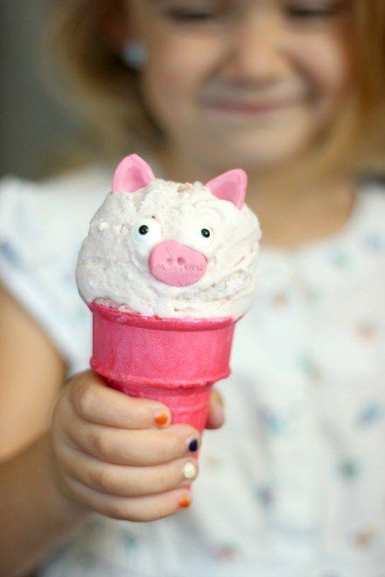 Pink Pig Ice Cream Cones