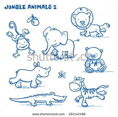 Cute cartoon jungle safari animals. elephant, monkey, lion, rhinoceros, zebra, panda bear, crocodile. Hand drawn doodle vector illustration.