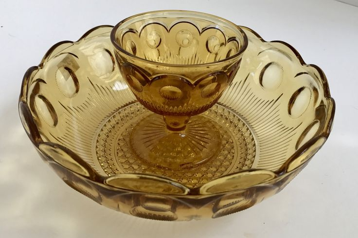 Vintage Bartlett & Collins Amber Glass Fruit Bowl Chip and Dip Glass Bowl