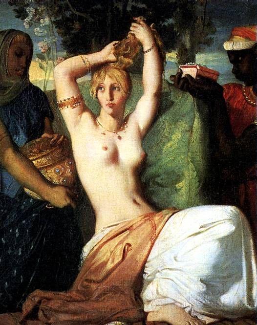 ШАССЕРИО ТЕОДОР Туалет Эсфири, 1841 Сент-Барб-де-Самана (Доминиканская Республика), 1819 — Париж, 1856 Холст, 46 х 36 см. Экспонировалась в Салоне 1842 г.; передана в Лувр по завещанию в 1934 г