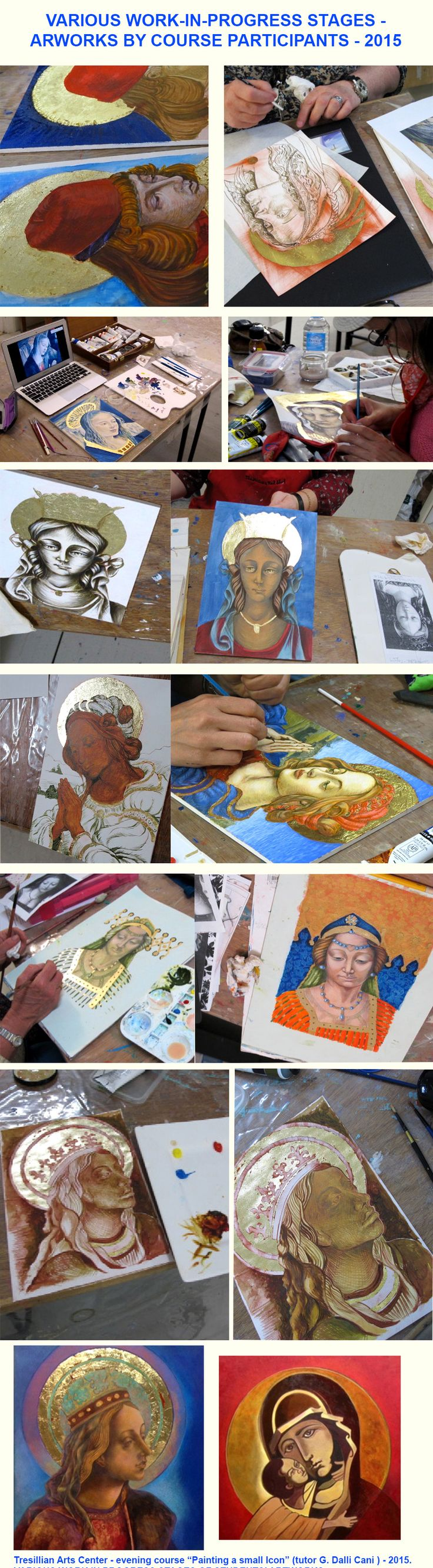 G. Dalli Cani - Tutoring at Tresillian Art Centre - Work in progress of artworks created by the students.
