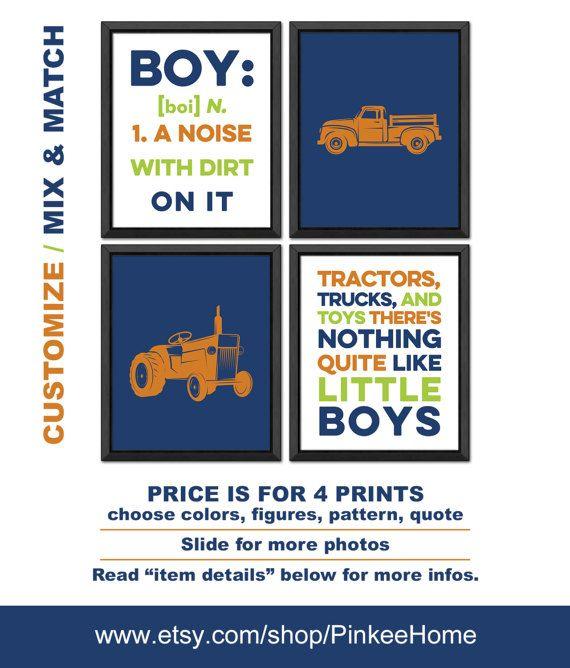 vintage tractor nursery, vintage truck decor, Little boys room decor, vintage truck nursery, boy toddler room truck tractor, boy decor truck by PinkeeHome
