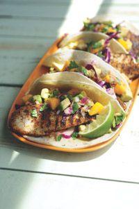 Grilled Fish Tacos w/ Mango SalsaWork, Avocado Salsa, Grilled Fish Tacos, Healthy Grilled, Healthy Dinner, Dinner Ideas, Mango Salsa, Food Recipe, Grilled Recipe