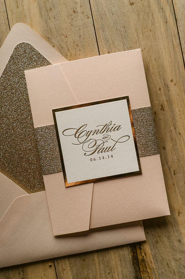 LAUREN Suite Glitter Pocket Folder Package. Pocketfold InvitationsGlitter  Wedding ...