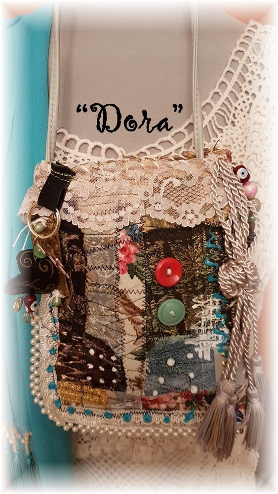 "Hand Made BoHo Bohemian Handbag Original Signed Numbered FAB*BOHO ""DORA` #012 #FABBOHO #POUCHCROSSBODY"