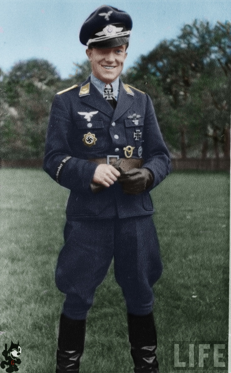 """AntonHafner killed in action 17 October 1944  Luftwaffe fighter ace and recipient of the Knight's Cross of the Iron Cross with Oak Leaves  Hafner shot down a Russian Yak-7 fighter as his 204th victory on 17 October 1944. However, during the dogfight his plane hit a tree. His Bf 109G-6  """"Black 1"""" crashed killing Hafner, Hafner was credited with 204 victories in 795 sorties. He had 184 kills over the Eastern Front. Of his 20 kills recorded over the Western front, eight were P-38s.total 55…"""