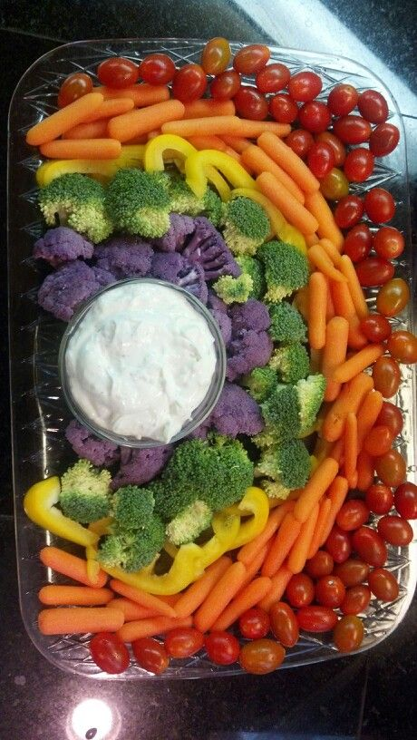 Rainbow veggie tray - I like the idea of it including veggies like peppers that aren't on your typical veggie tray.