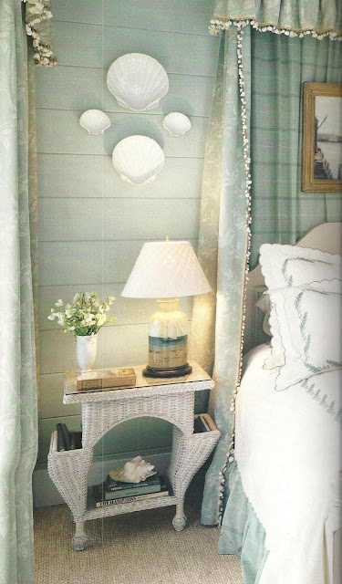 pretty cottage bedroom, lovely linens, pretty fabrics/trim from Colefax and Fowler, Cowtan and Tout, and Travis and Co.