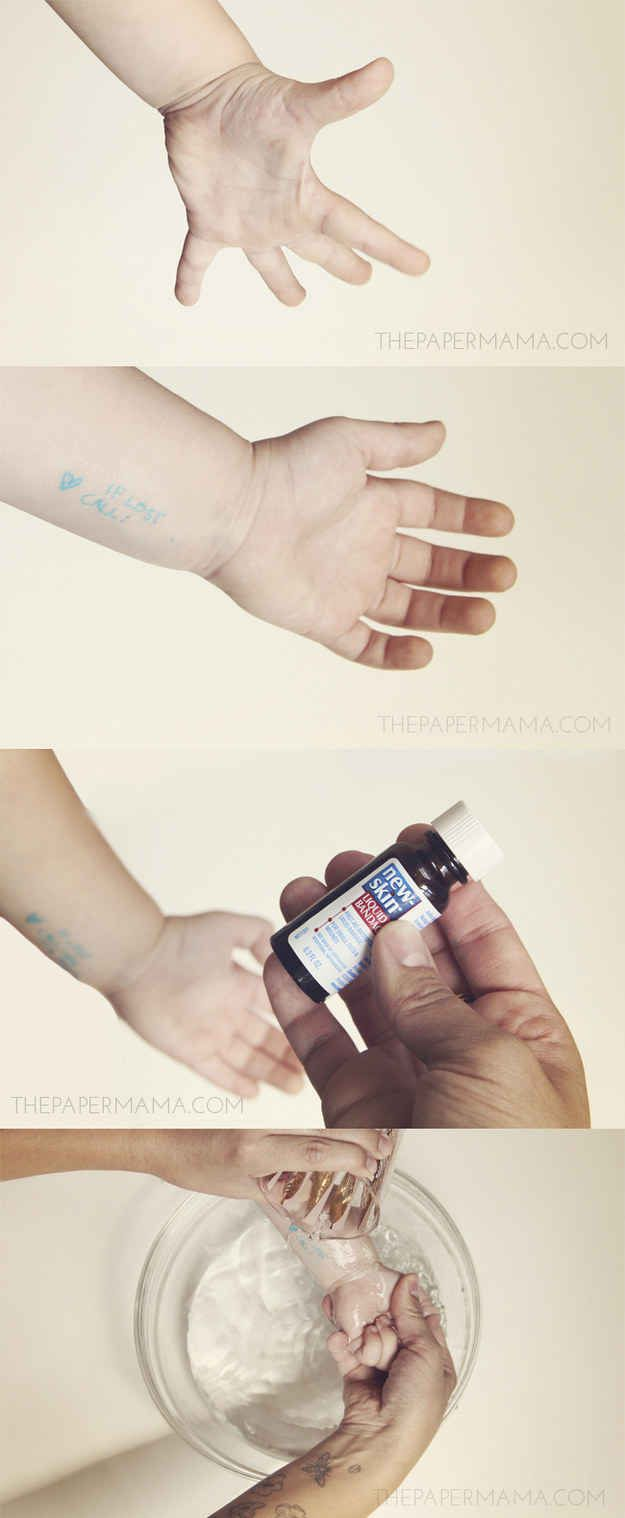 Liquid Bandage will seal in a temporary safety tattoo on your child. | 33 Genius Hacks Guaranteed To Make A Parent's Job Easier