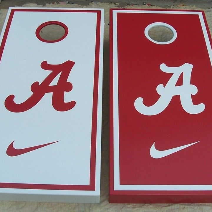 Alabama Crimson Tide with Nike Swoosh custom Cornhole Boards
