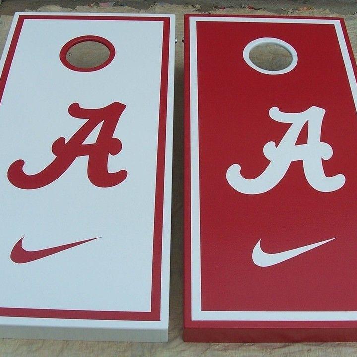 Alabama Crimson Tide with Nike Swoosh custom Cornhole Boards