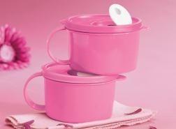 Tupperware Pink Soup Mugs