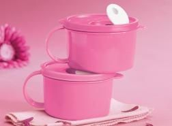 Tupperware Pink Soup Mugs