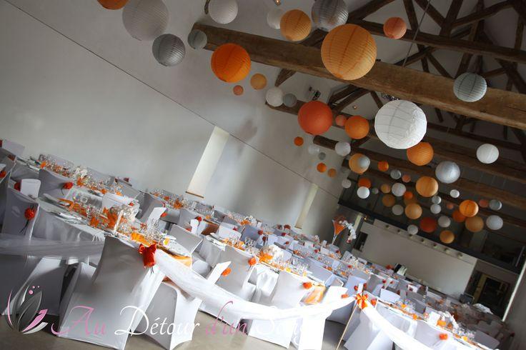 mariage thème Poissons rouges Orange, gris & blanc Wedding decoration ...