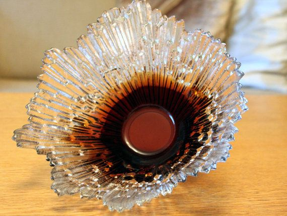 "Vintage Glass ""Revontulet"" (Northern Lights) Amber Glass Bowl By Tauno Wirkkala for Humppila"
