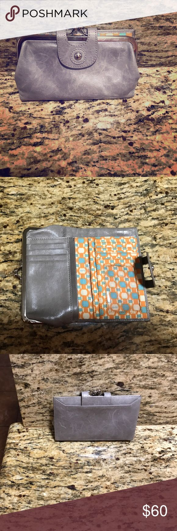 """Hobo brand wallet Gray Hobo """"Alice"""" leather wallet.  6""""Wx3 1/2""""Hx1""""D.  Kiss lock coin purse, exterior slip, interior slip and currency pockets, 7 card slot, and ID window.  Used for about a week and haven't used since. HOBO Bags Wallets"""