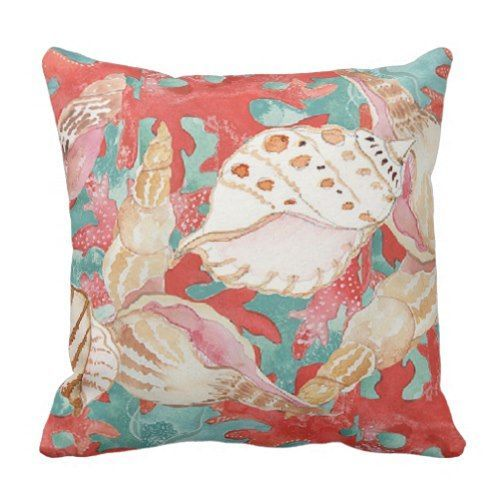 coral brings positive energy into a room, and surrounding yourself, family, and friends around this kind of amazing energy is simply remarkable.  This is why I love coral throw pillows as they also make a room very plush and comfortable.  Indeed coral accent pillows make a house truly come alive with color #coral #homedecor   Chic Aqua Turquoise Coral Red Seashells Pattern Throw Pillow