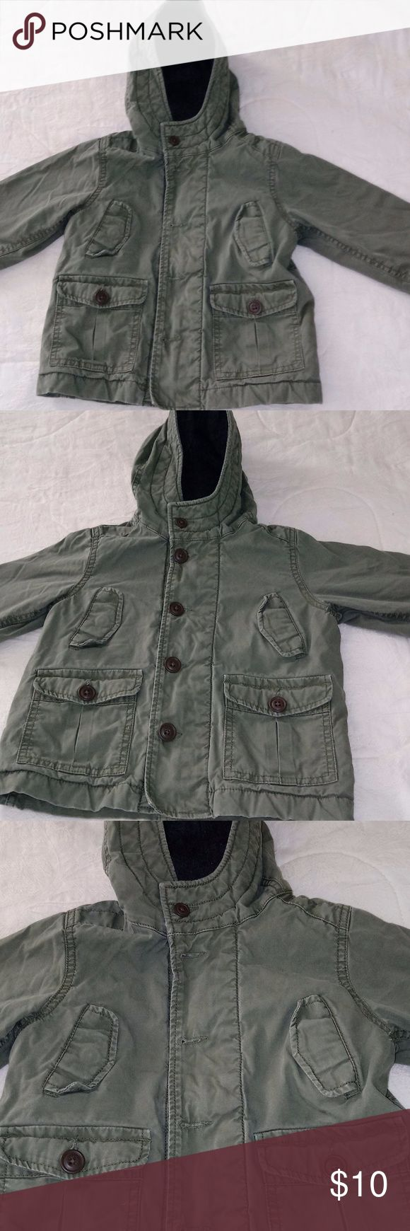"Boys Old Navy Coat Great condition! Army green, has hood and ""fur"" lining. Old Navy Jackets & Coats"