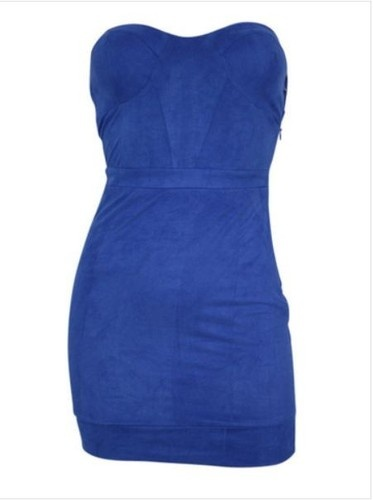 HUNTINGBIRD BLUE SUEDE STRAPLESS TUBE LADIES MINI PARTY DRESS