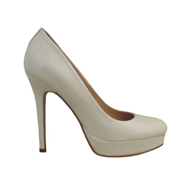 Pantofi din piele crem nappa