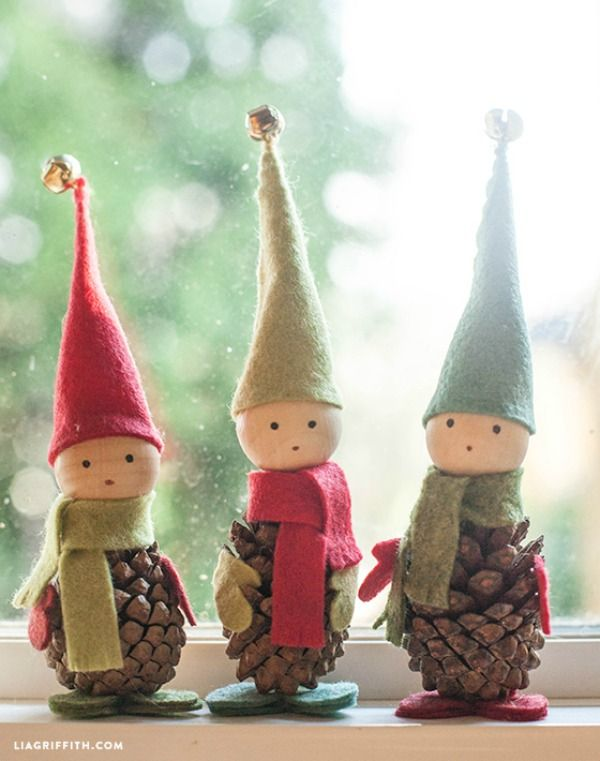 These darling Pine Cone Elves are easy to make and go perfectly with any Christmas decorations! Visit our 100 Days of Homemade Holiday Inspiration for more recipes, decorating ideas, crafts, homemade gift ideas and much more!
