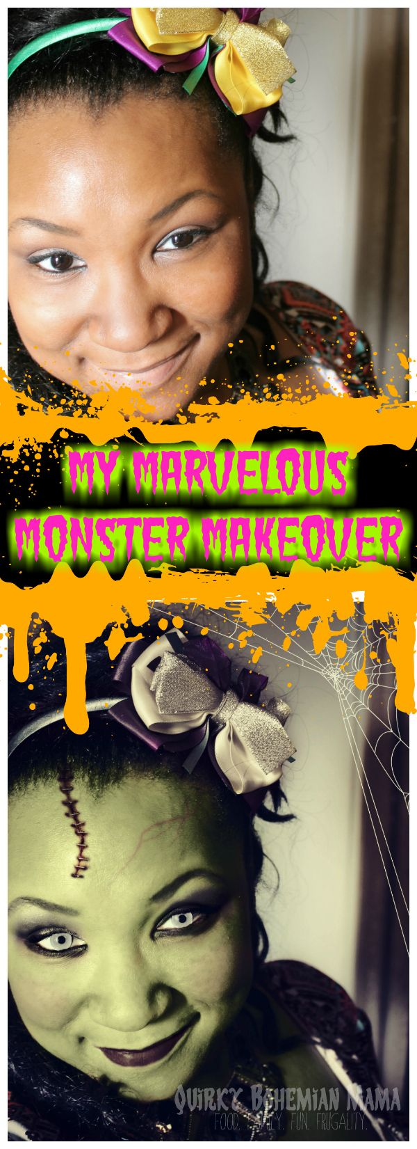My Marvelous Monster Makeover  {Halloween PicMonkey photo editing} PicMonkey Halloween photo editor. How to make yourself look like a monster using PicMonkey. Halloween makeup inspiration. Bride of Frankenstein makeup. #halloween #zombie