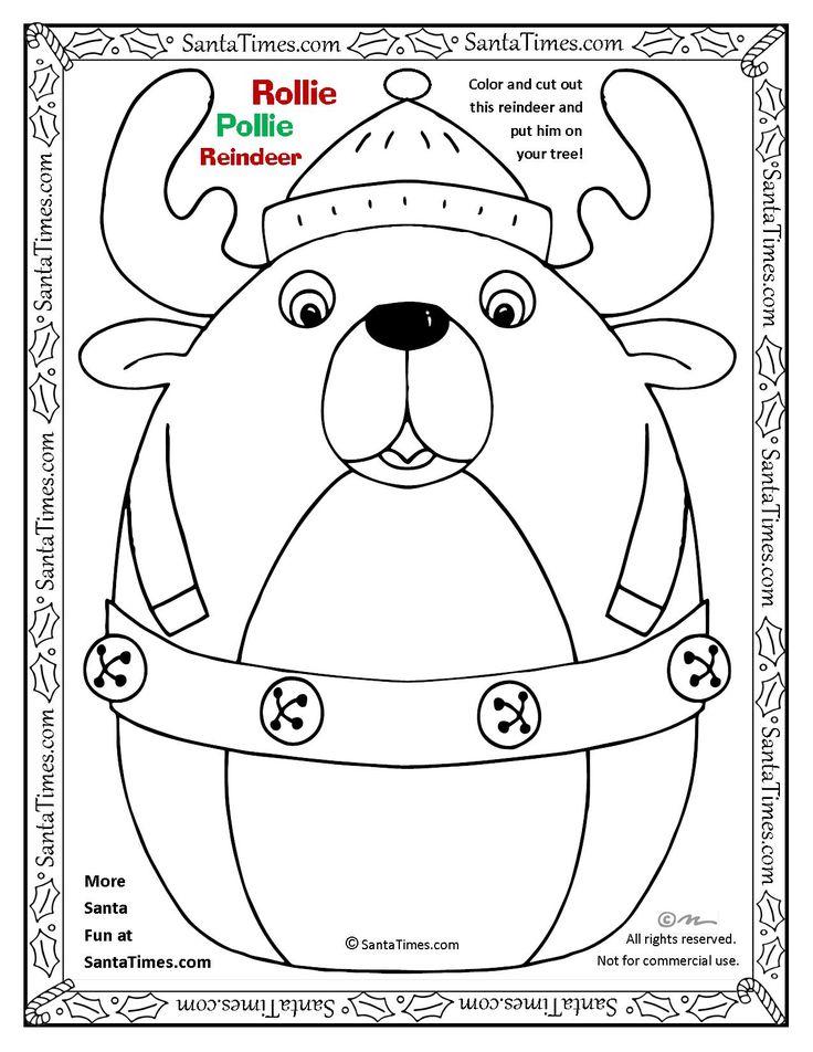 Rollie Pollie Santa Coloring Page Printout More Fun Holiday Activities At SantaTimes