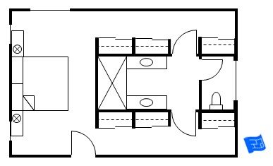 Master bedroom floor plan with the entrance straight into the bedroom.  Then there's walk through closets that flank a central bathroom. Click onto site for more analysis.